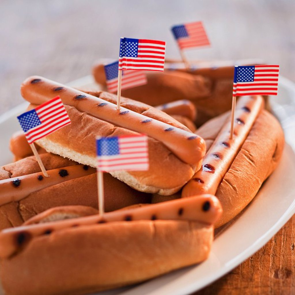 American flags in hotdogs : Stock Photo