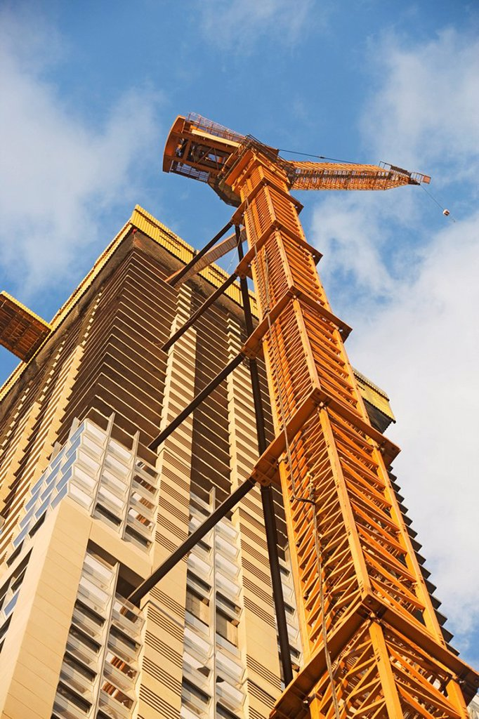 Stock Photo: 1795R-37144 Crane and high_rise building