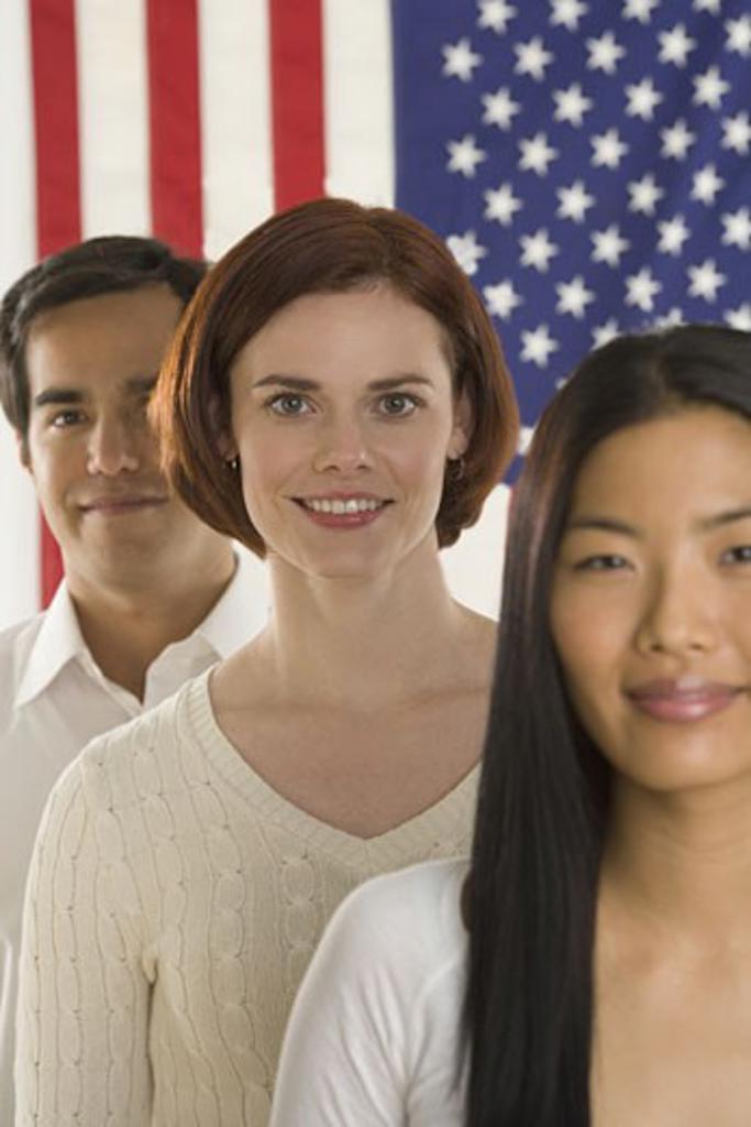 Portrait of three Americans : Stock Photo