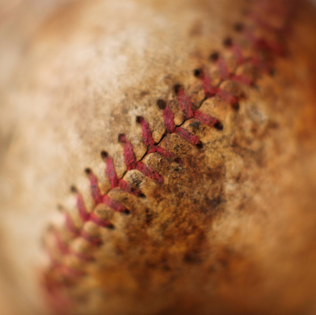 Stock Photo: 1795R-39079 Seam on antique baseball
