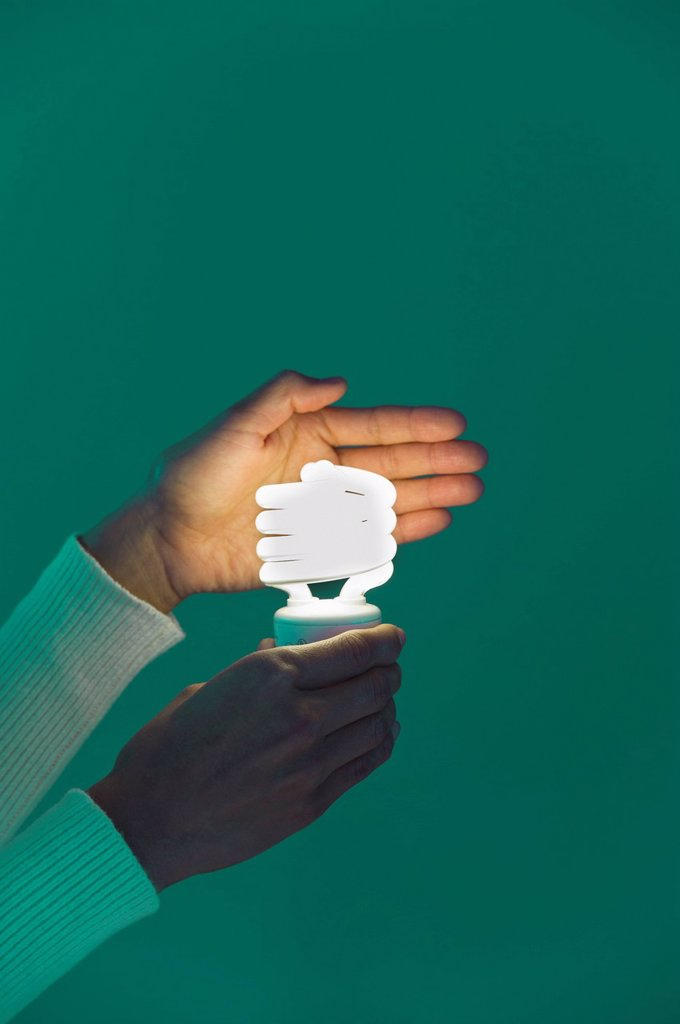 Woman´s hands holding energy efficient lightbulb : Stock Photo