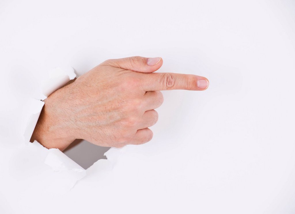Stock Photo: 1795R-39793 Hand on white background pointing