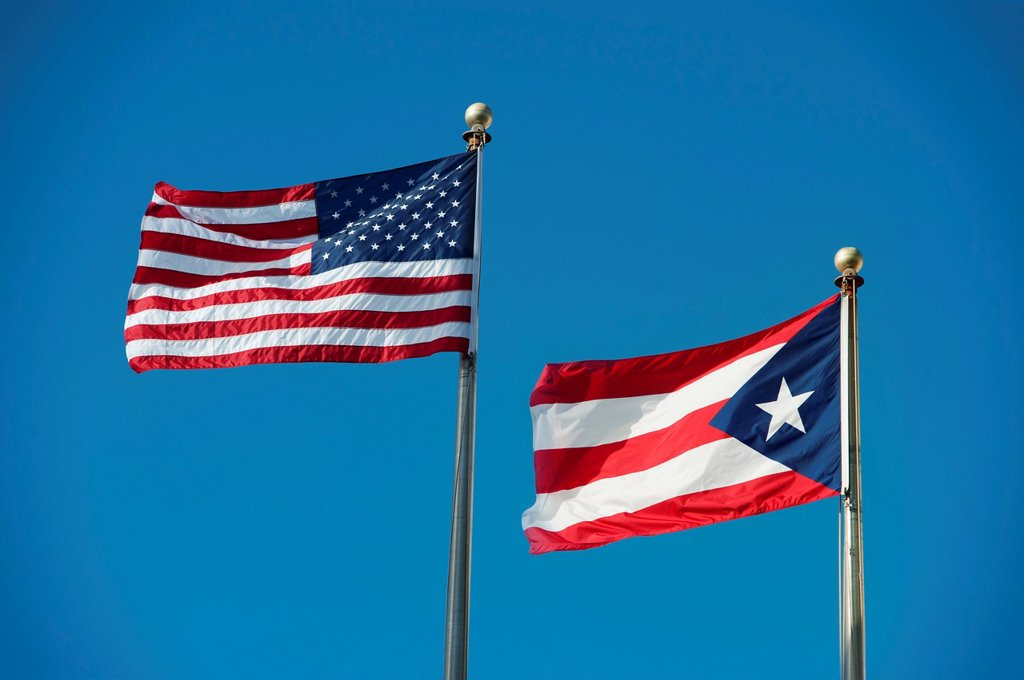 Stock Photo: 1795R-41219 Puerto Rico, Old San Juan, flags of the USA and Puerto Rico