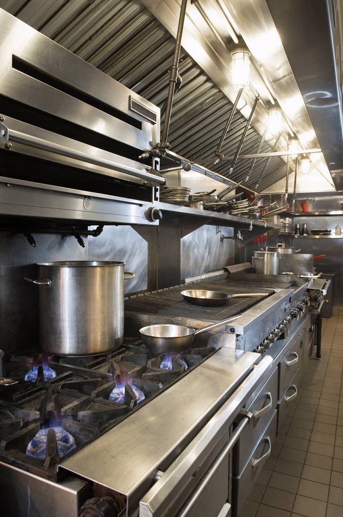 Interior of commercial kitchen : Stock Photo
