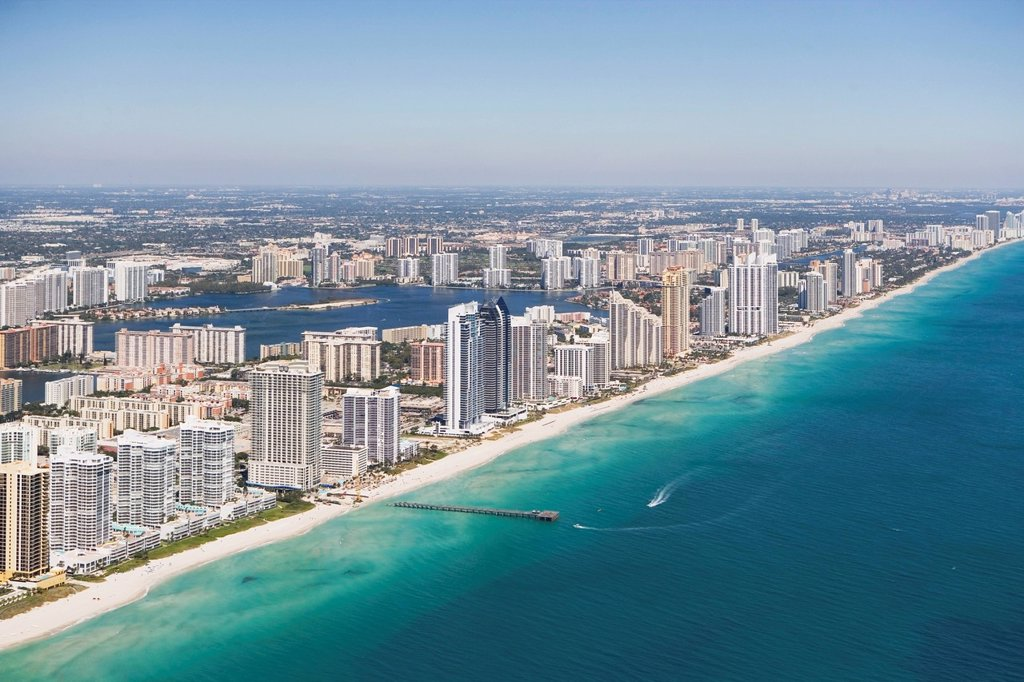 USA, Florida, Miami cityscape as seen from air : Stock Photo