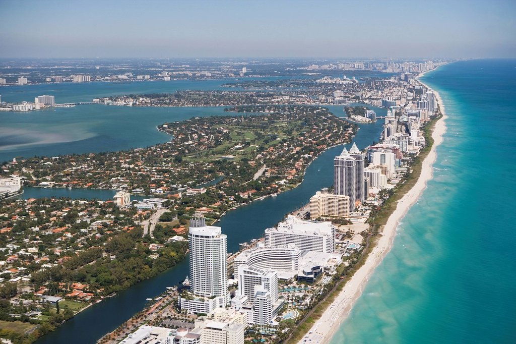 Stock Photo: 1795R-41983 USA, Florida, Miami cityscape as seen from air