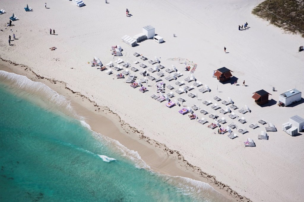 USA, Florida, Miami, Aerial view of sandy beach : Stock Photo