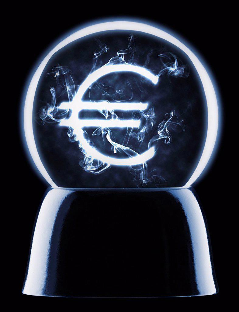Studio shot of crystal ball showing euro symbol : Stock Photo