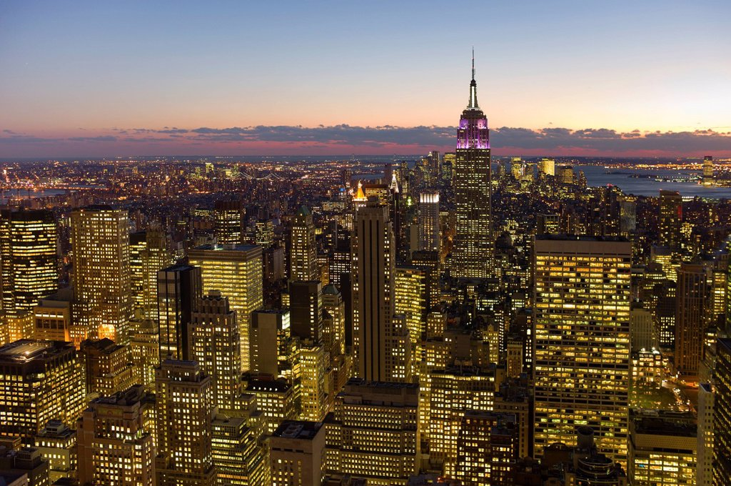 Stock Photo: 1795R-43241 USA,, New York, New York City, cityscape at dusk
