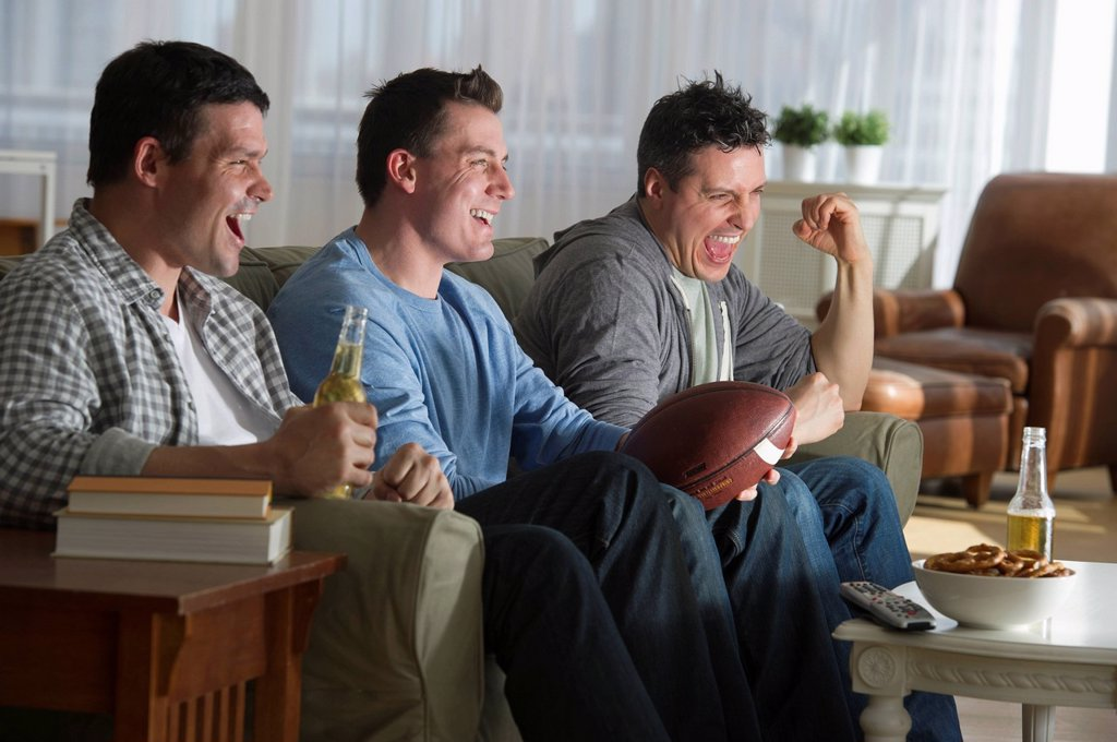 Stock Photo: 1795R-44435 USA, New Jersey, Jersey City, three men watching television