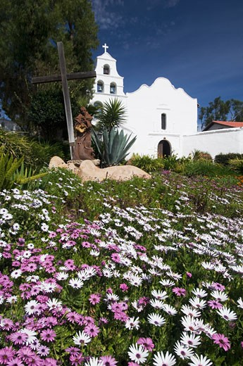 Meadow with church in background, Mission San Diego de Alcala, San Diego, California, United States : Stock Photo