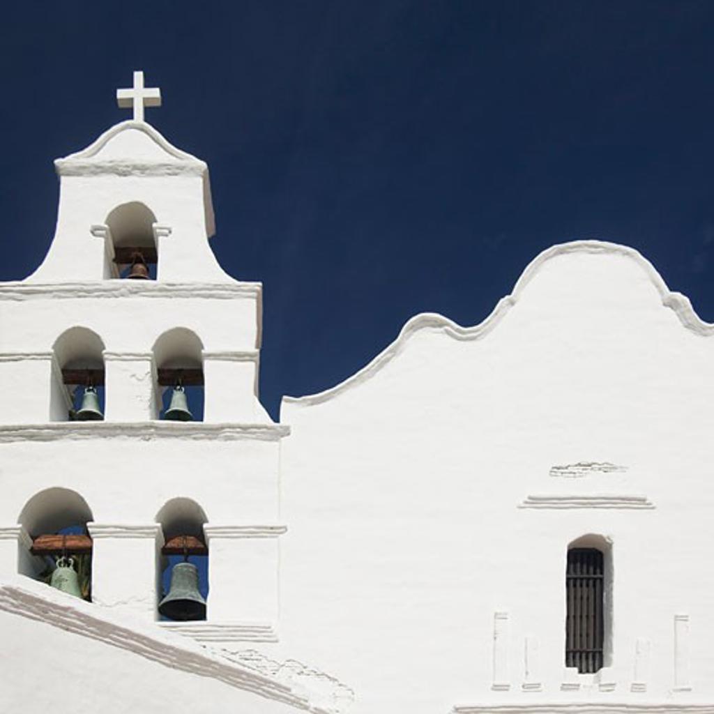 Stock Photo: 1795R-4479 Building facade and church bells, Mission San Diego de Alcala, San Diego, California, United States