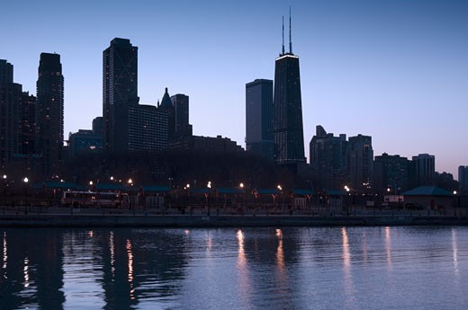 Stock Photo: 1795R-4633 Skyline at sunrise with Lake Michigan Chicago Illinois USA