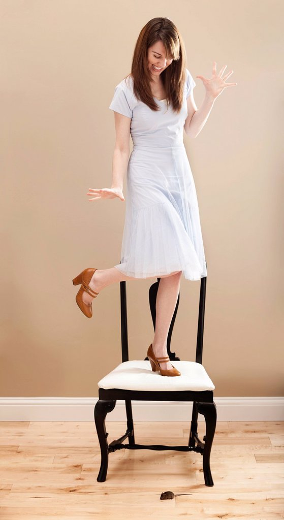 USA, Utah, Lehi, Young woman standing on chair, evading mouse : Stock Photo