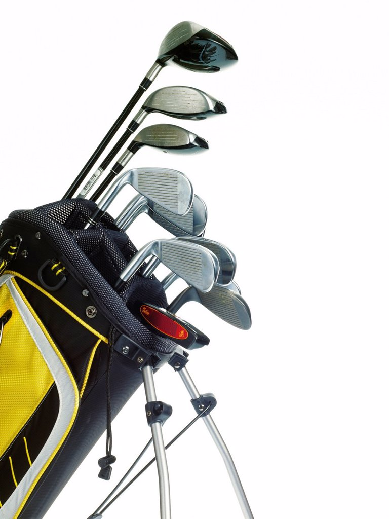 Golf bag with clubs on white background : Stock Photo