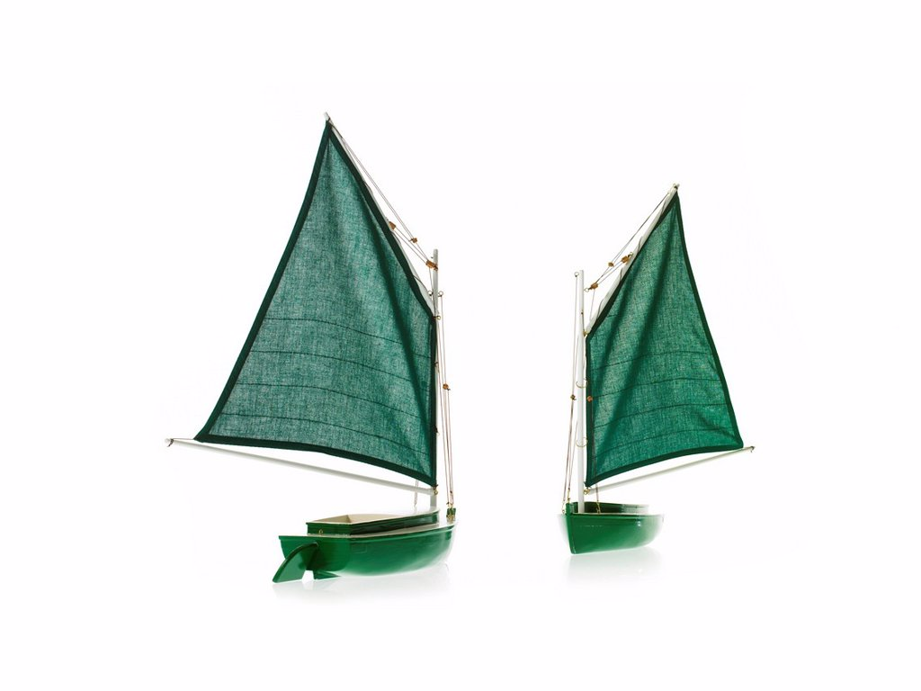 Two toy boats on white background : Stock Photo