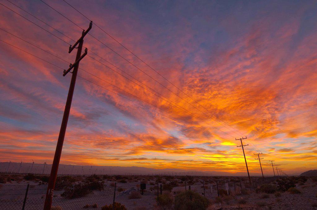 USA, California, Palm Springs, power line at sunrise : Stock Photo
