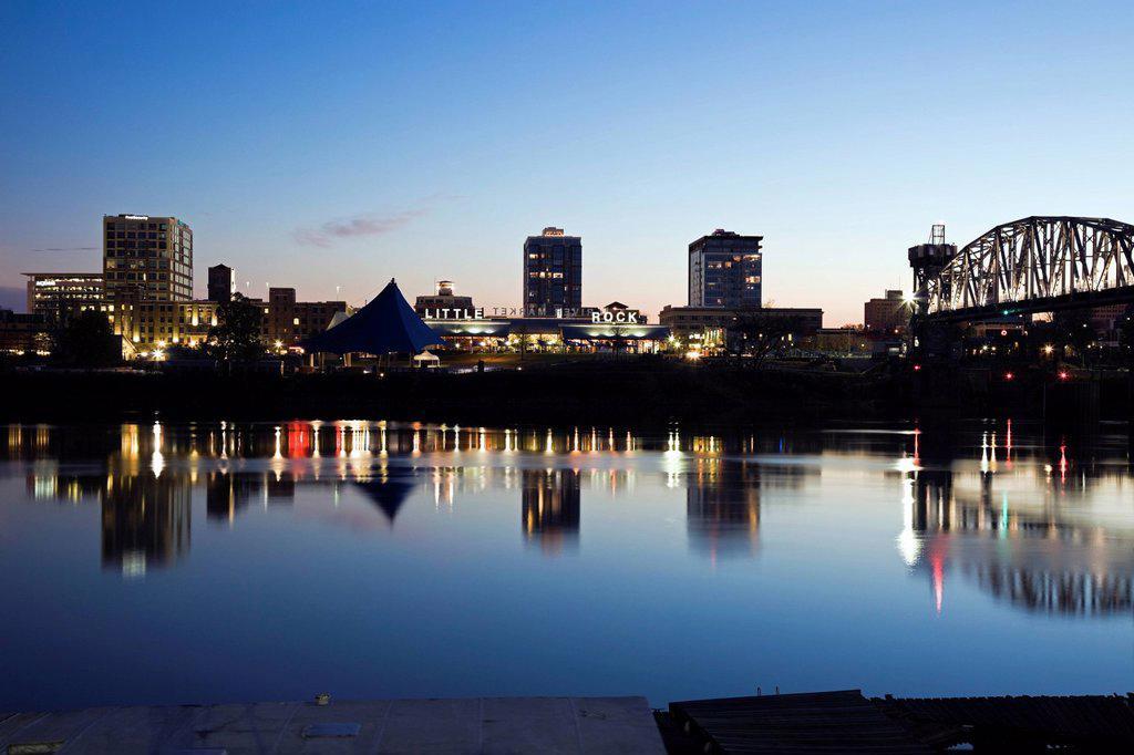 USA, Arkansas, Little Rock, Downtown skyline illuminated at night : Stock Photo