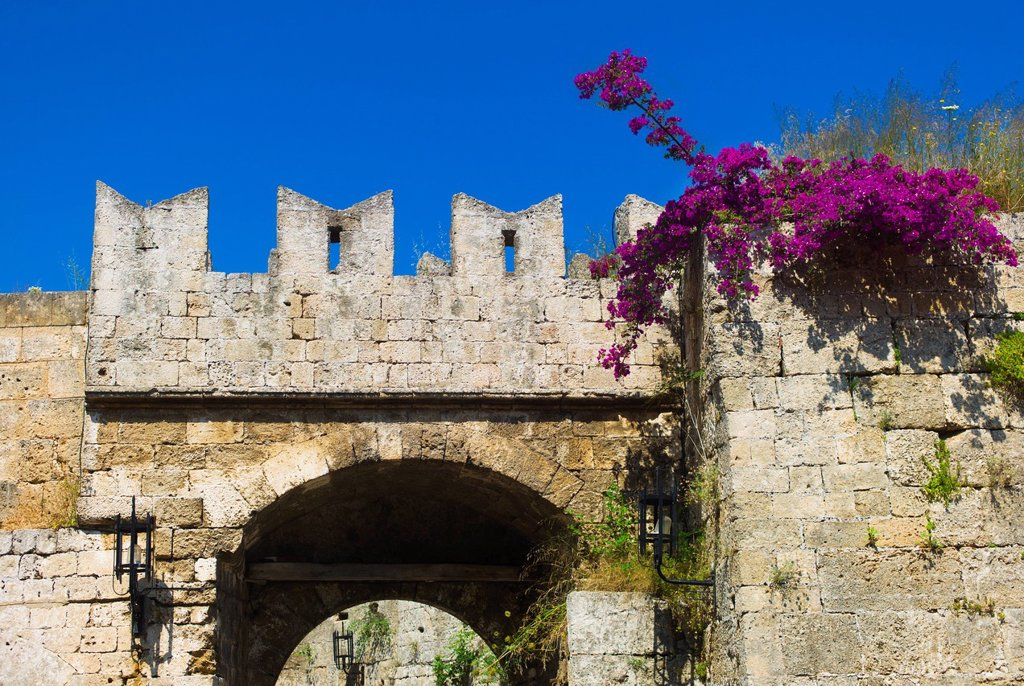 Stock Photo: 1795R-47936 Greece, Rhodes, Medieval fortified wall