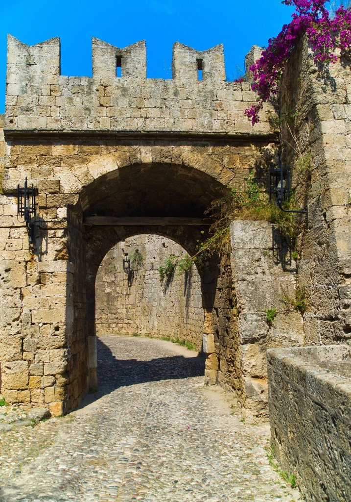 Greece, Rhodes, Medieval fortified wall : Stock Photo