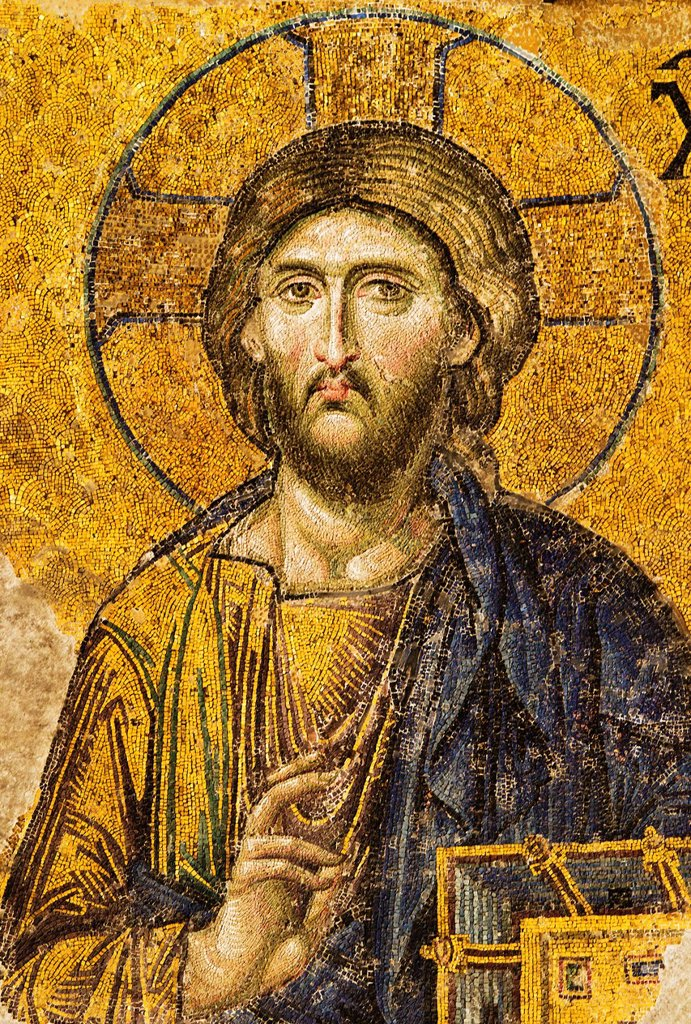 Turkey, Istanbul, Mosaic of Christ Pantocrator in Haghia Sophia Mosque : Stock Photo