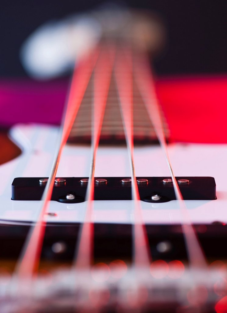 Close up of strings of bass guitar : Stock Photo