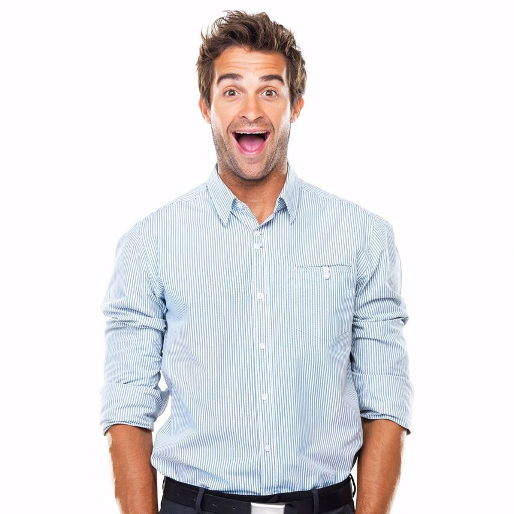 Portrait of cheerful business man with wide grin standing : Stock Photo