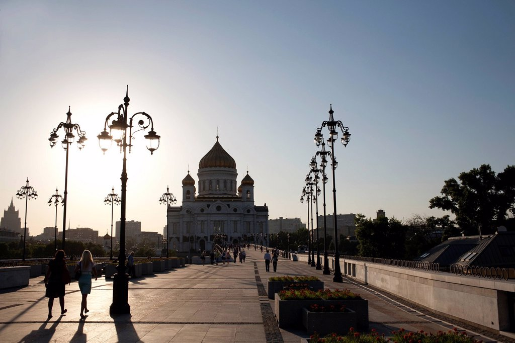 Stock Photo: 1795R-49719 Russia, Moscow, Silhouette of Cathedral of Christ the Savior at sunset