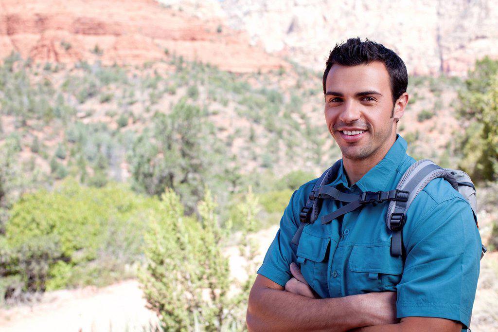 USA, Arizona, Sedona, Young smiling hiker : Stock Photo