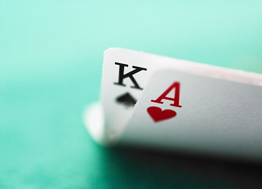 Stock Photo: 1795R-5178 Close up of winning blackjack hand