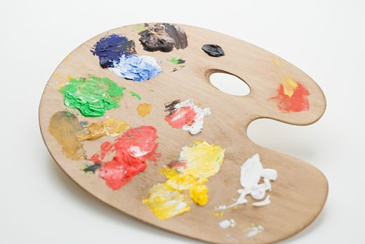 Studio shot of artist's palette with paint : Stock Photo
