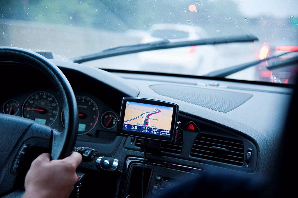 Car interior with GPS : Stock Photo