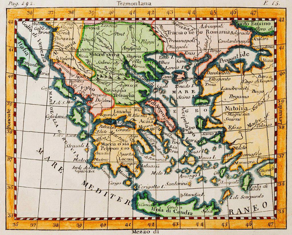 Studio shot of antique map : Stock Photo