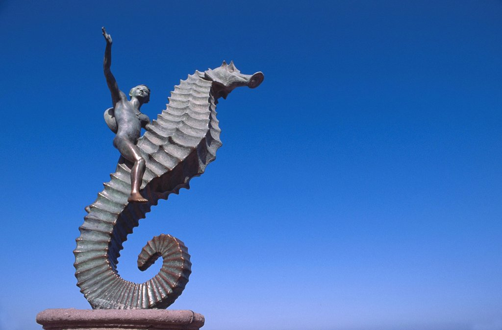 Stock Photo: 1795R-57173 Mexico, Jalisco, Puerto Vallarta, The Seahorse sculpture
