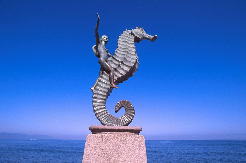 Mexico, Jalisco, Puerto Vallarta, The Seahorse sculpture : Stock Photo
