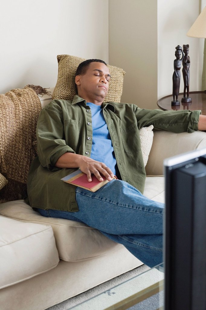 Stock Photo: 1795R-57378 Man napping on sofa