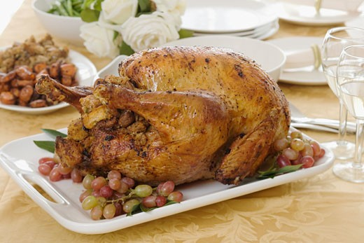 Stock Photo: 1795R-5744 Thanksgiving turkey on table