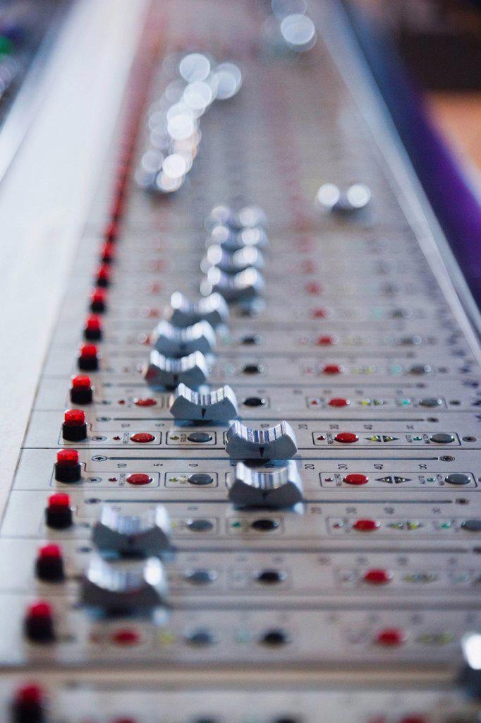 Stock Photo: 1795R-59011 Control panel in recording studio