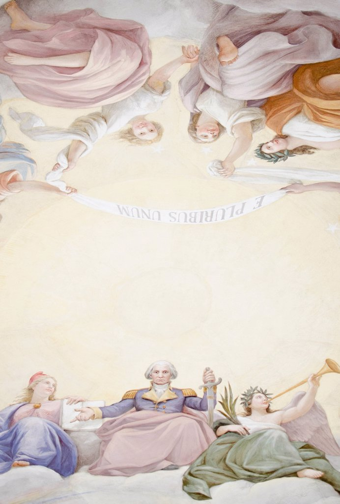 Stock Photo: 1795R-59135 USA, Washington DC, Capitol Building, Close up of fresco on ceiling