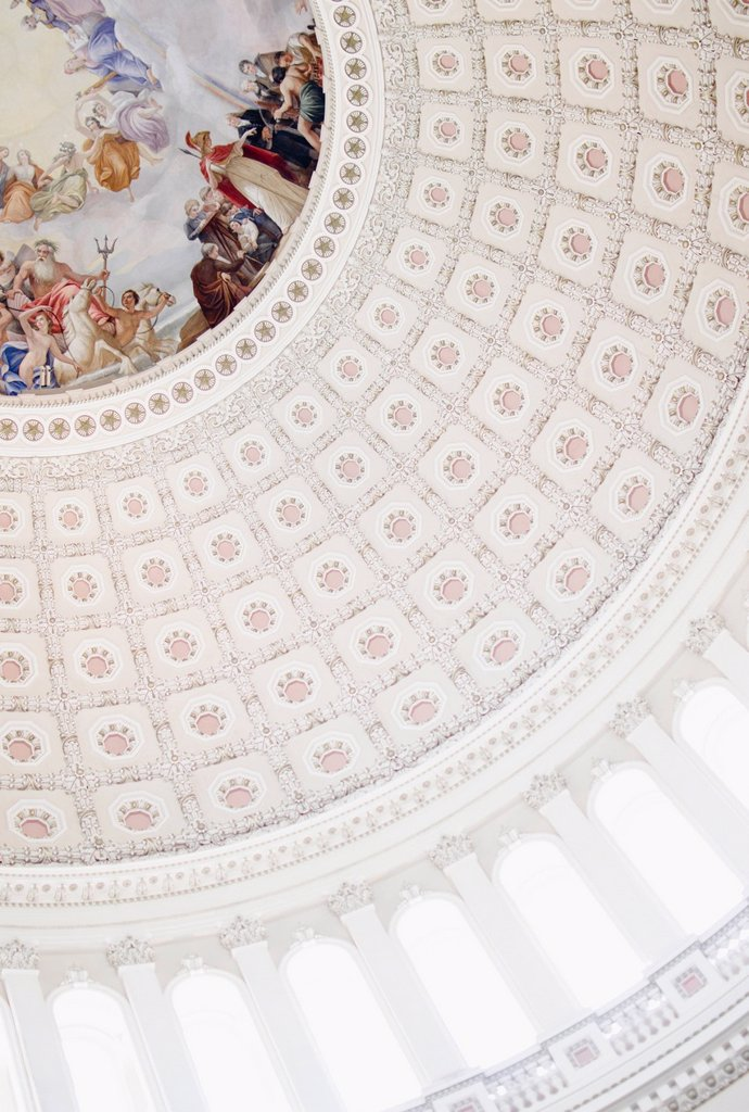 USA, Washington DC, Capitol Building, Close up of fresco and coffers on ceiling : Stock Photo