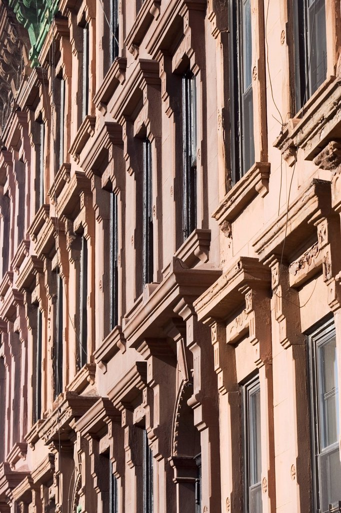 USA, New York City, Row of historic buildings : Stock Photo