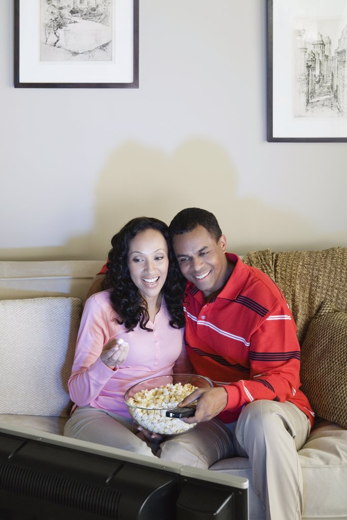 Stock Photo: 1795R-60263 Couple watching tv