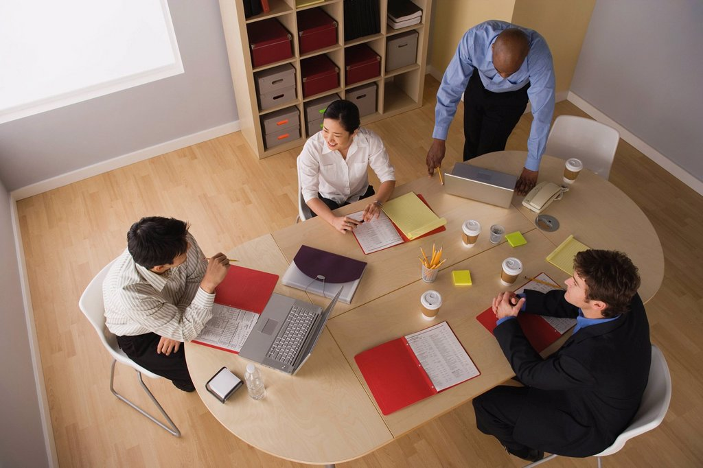 Stock Photo: 1795R-61313 Elevated view of conference table