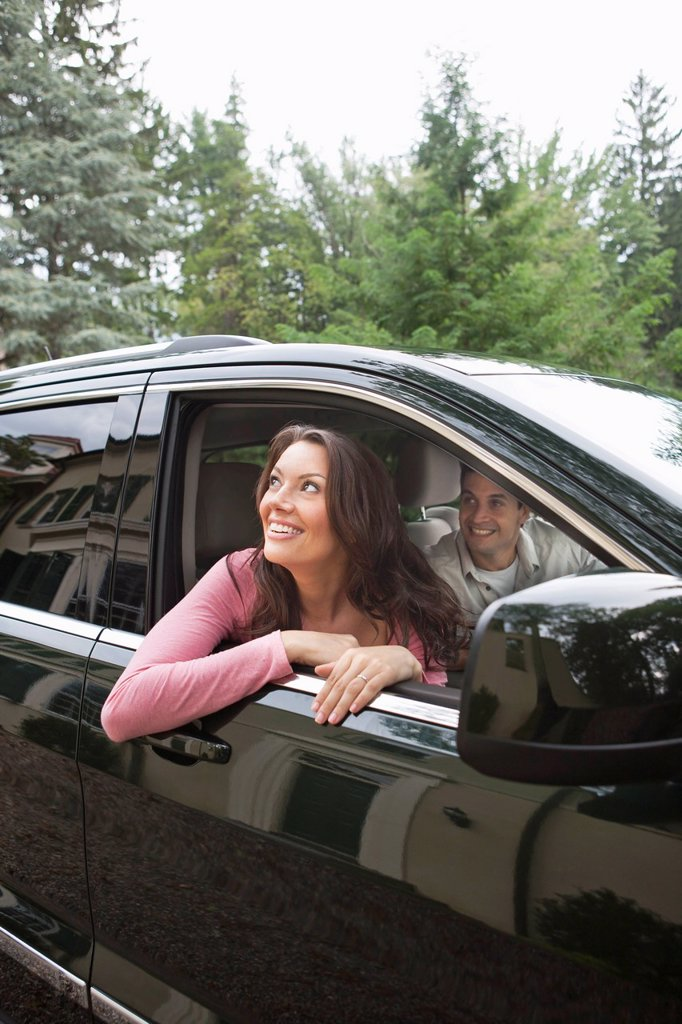 Stock Photo: 1795R-61699 USA, New Jersey, Couple in car