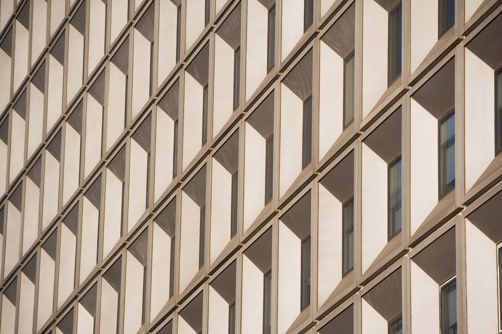 USA, New York state, New York city, close-up of office building : Stock Photo