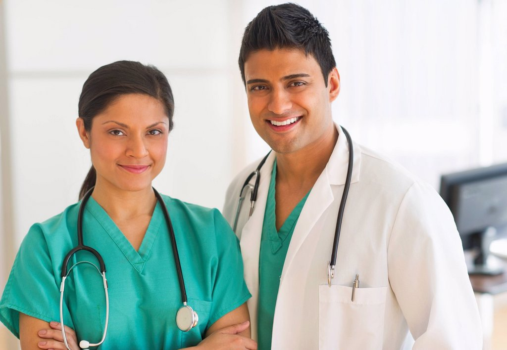 Portrait of two doctors : Stock Photo