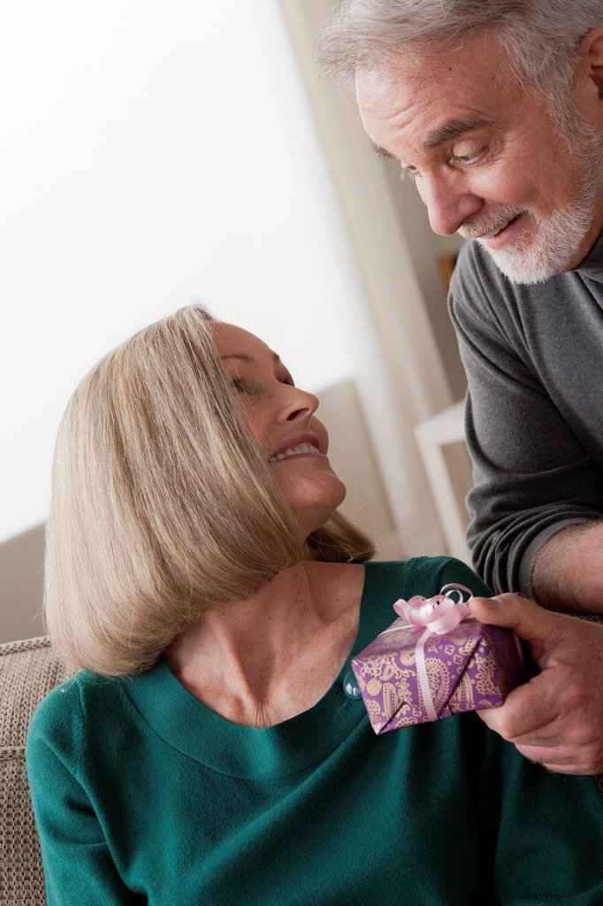 Stock Photo: 1795R-67257 Man giving woman gift