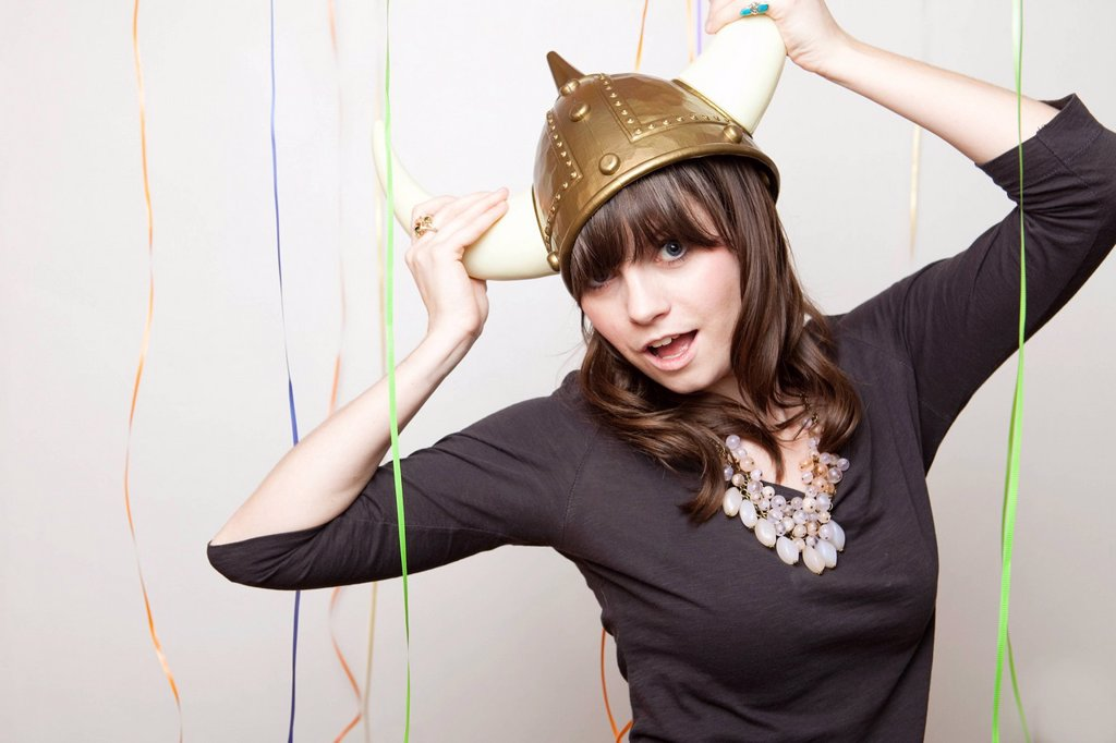 Stock Photo: 1795R-67910 Studio Shot of young woman in Viking Helmet