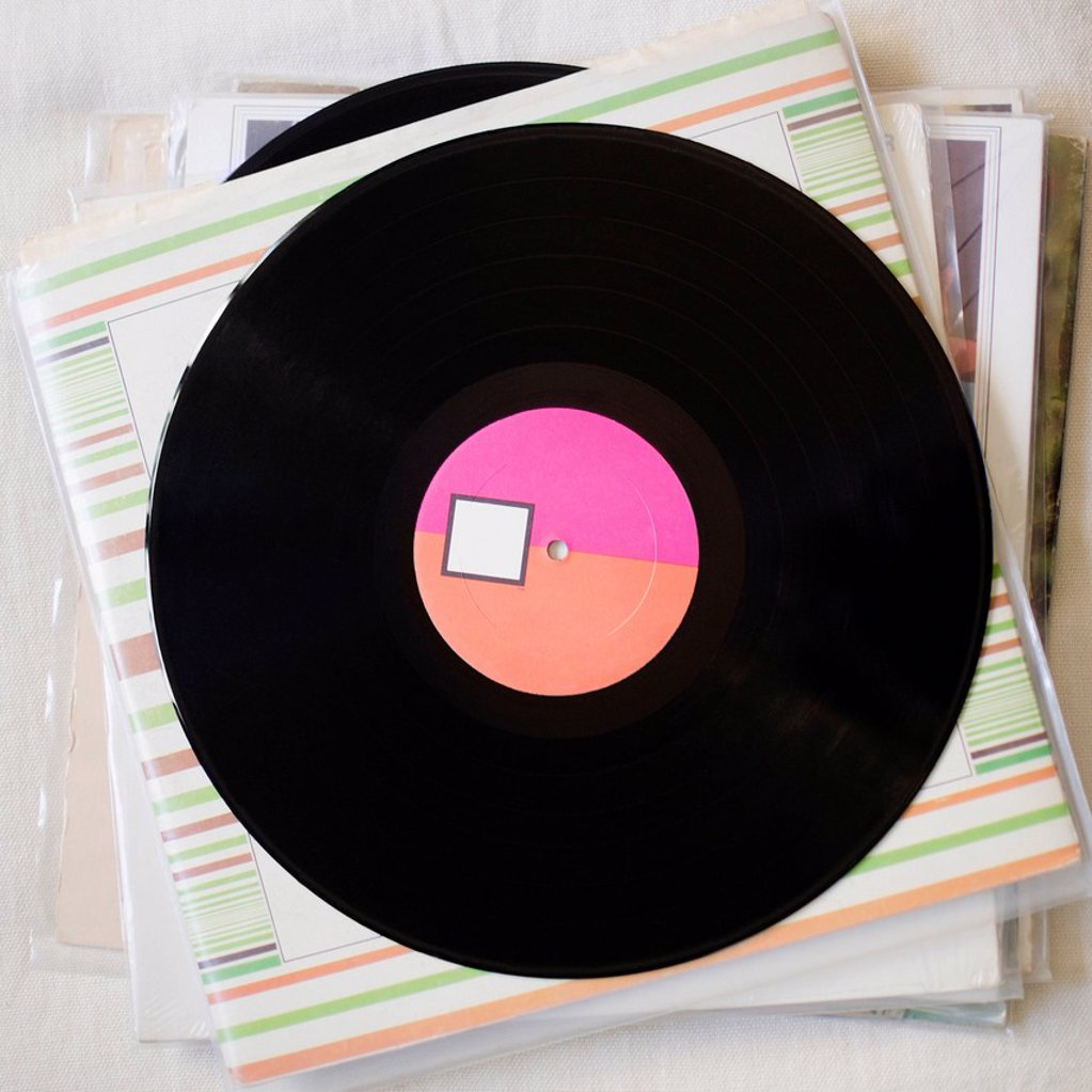 Stock Photo: 1795R-68903 Stack of records