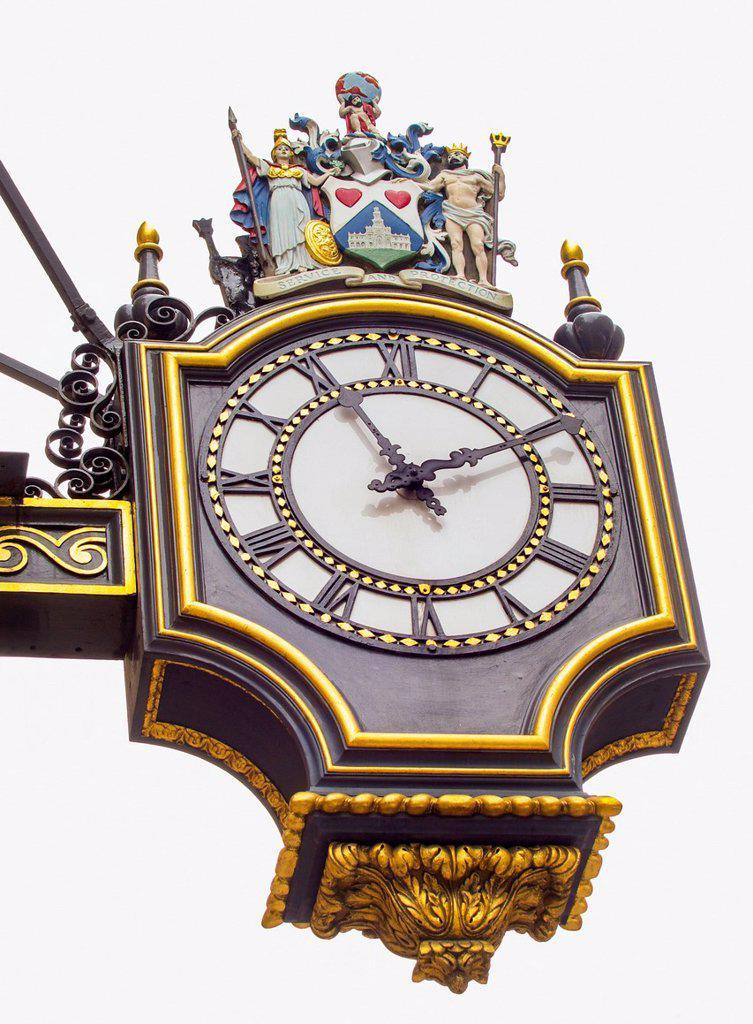 Stock Photo: 1795R-70382 UK, London, Royal Exchange, Detail of antique clock